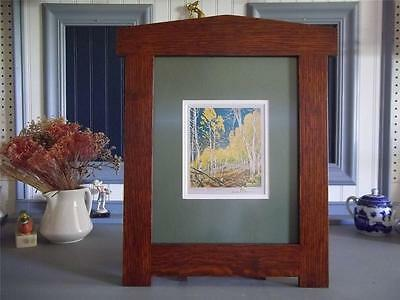 """Mission Style Gustave Baumann Arts & Crafts Arched Framed Print- """"Aspen Thicket"""""""