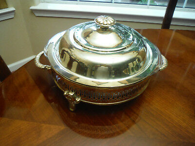 Vintage Silverplate Round~3 ~ Footed Casserole with Lid and 2 quart Pyrex Liner