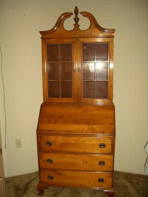 Drop front Secretary Desk, Display Cabinet China Hutch Solid Maple Brass 1970's