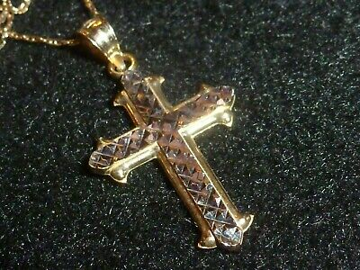 14K Solid White & Yellow Gold Cross And 14K Yellow Gold Necklace