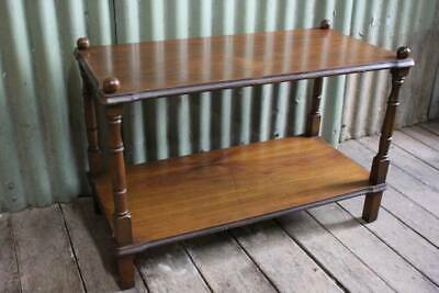 A Vintage Cedar Two Tier Side Table - Stand