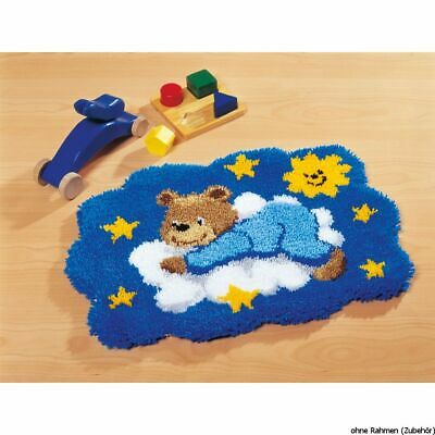 Vervaco Latch hook shaped carpet kit Blue bear on cloud, DIY
