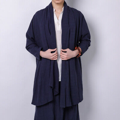 Ethnic Men Cotton Linen Jacket Long Sleeve Kimono Cardigan Outerwear Casual