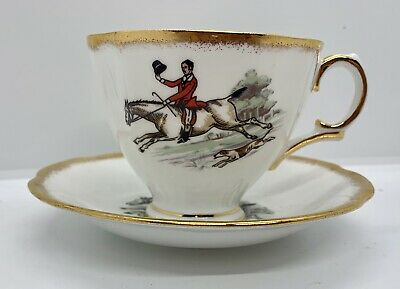 Royal Tara Ireland Fine Bone China The Fox Hunt Coffee Tea Cup & Saucer EUC