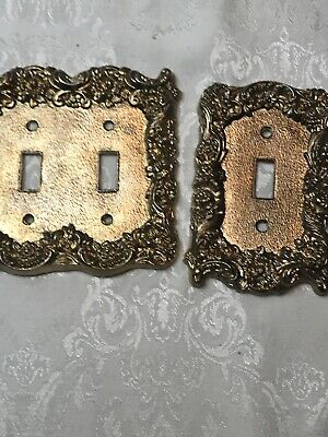 Vintage Ornate  Brass Double Light Switch Cover Single Outlet Covers EUC