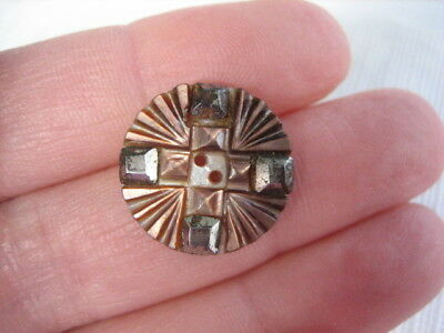 "Vintage Small 11/16"" Carved MOP Mother Of Pearl Shell Button, Cut Steels - PP31"