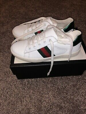 Gucci Ace Kids Toddler Black Guccissima Leather Trainers sneakers Size 31