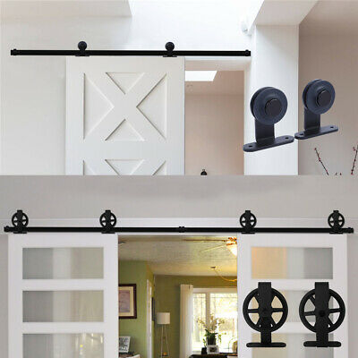 4-20FT Rustic Sliding Barn Door Hardware Closet Track Kit for Single/Double Door
