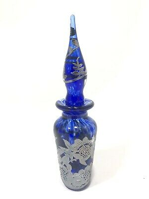 1999 Laugharne Sterling Silver Glass Overlay Blue Perfume/ Scent Bottle 7""