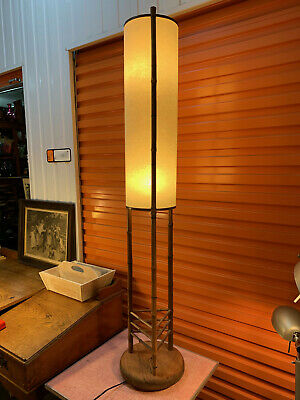 Retro Vintage Tall Bamboo Framed Pine Base Cylinder Shade Floor Lamp 150cm