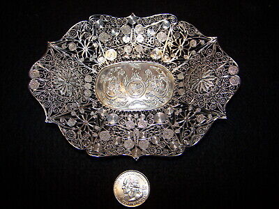 Antique MARKED  FILIGREE Chinese Export Silver Dragon Pierced CALLING CARD TRAY