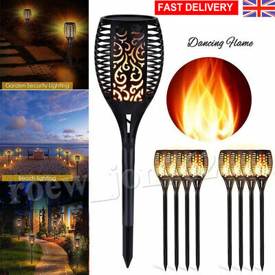 96LEDs Solar Flame Flickering Fire Effect Lamp LED Torch Garden Landscape Lights