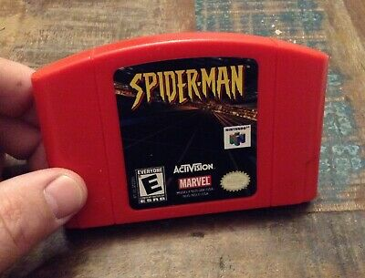 nintendo 64 n64 game spider-man tested authentic red marvel spiderman