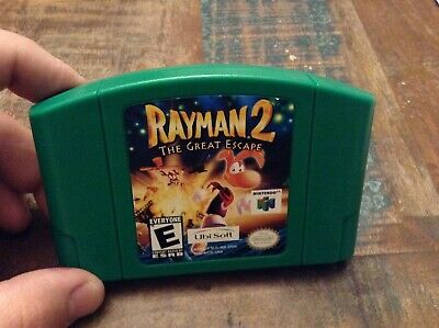 nintendo 64 n64 game rayman 2 the great escape tested authentic green
