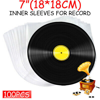 100Pcs 7'' Clear Plastic LP LD Music Vinyl Record Antistatic Cover Inner Sleeves