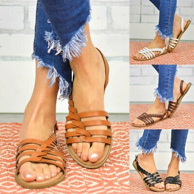 Womens Knitted Boho Sandals Ladies Ankle Strap Summer Flat Slingback Shoes Size