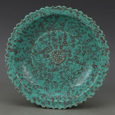 Beautiful Antique Chinese Porcelain Qing MK Yao bian Green Glaze Lotus Plate