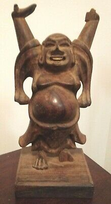 "Vintage Buddha Statue Figure Wood hand carved Wooden Happy Laughing 7"" Antique"