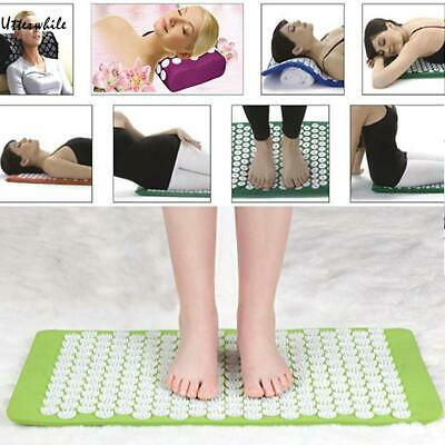 Fitness Acupressure Mat Pillow Set Back Neck Pain Relieve Massage Yoga U8HE
