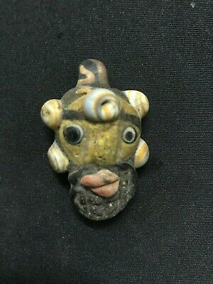 Rare Roman Ancient Glass Face Bead Men Mosaic Phoenician Stone Amulet Jewish E7