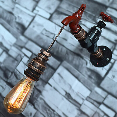 Vintage Water Tube Faucet Wall Lamp Classical Night Sconce Light Fixture Decor