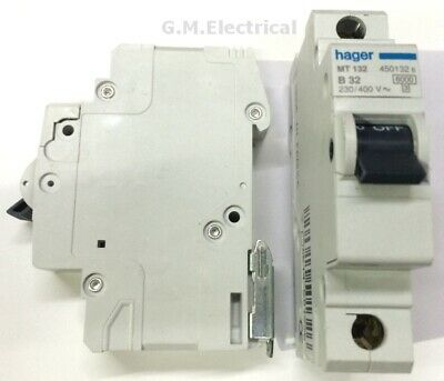 Hager 32 Amp Type B 32A Mcb Breaker Single Pole Phase B32 Mt132 6Ka Nb132