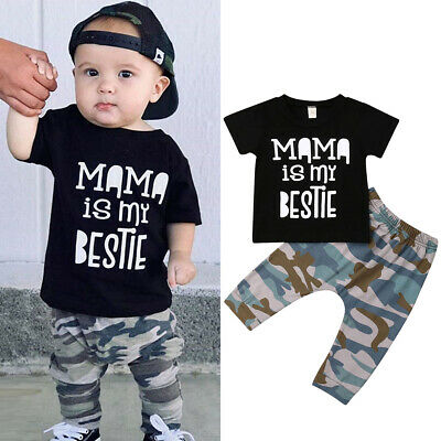 online store 96224 c0bc5 NEUGEBORENEN KLEINKIND KIND Baby Jungen Kleidung T Shirt Tops Camo Pants  Outfits