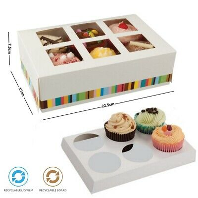 6 Cup Cupcake Cake Bakery Dessert Box & Insert - Disposable Recyclable Cardboard