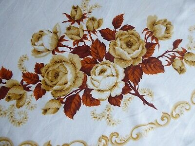 VINTAGE IVORY TAN BROWN ROSES COTTON BLEND TABLECLOTH 51x 66 FALL