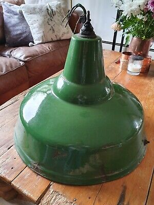 "Large Salvaged Industrial Green Ceiling Light 18"" diameter"