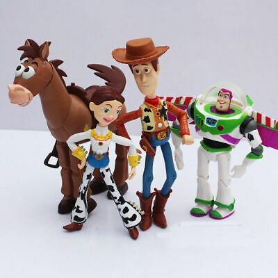 4PCS Set Toy Story 4 Woody Jessie Buzz Lightyear Animated Action Figure Toys New