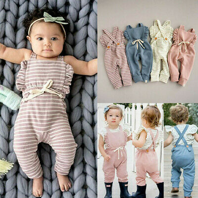 Newborn Baby Girl Boy Backless Striped Jumpsuit Ruffle Romper Overalls Outfits