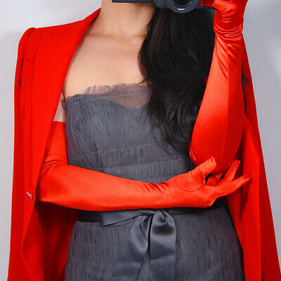 "Stretchy Satin Silk Gloves 60cm 23"" Opera Evening Extra Long Elbow Wrist Hot Red"