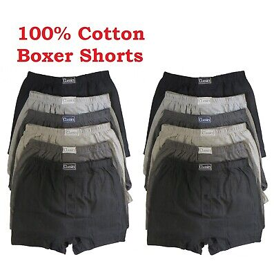 100% Cotton Pack Of 6x 12x Mens Boxer Shorts Extra Soft Button Fly Underwear