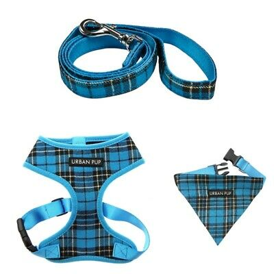 Urban Pup Blue Tartan Range : Harness, Collar with Bandana, Lead