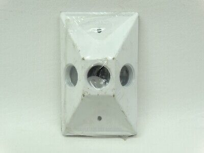 "NEW Sigma 14373WH White 1 Gang Three Holes 1/2"" All Weather Outlet Box Cover"