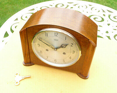 Vintage restored 1951 Smiths / Enfield striking mantle clock  with brass key