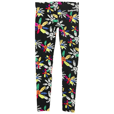 DESIGUAL Black leggings with multicoloured daisy detail S 3/4 years