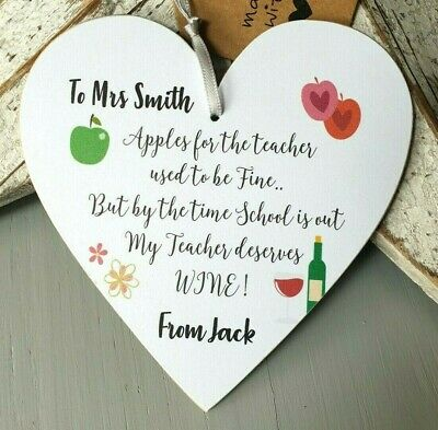 Gift For Teacher Wine Bottle Tag Heart Plaque Thank You Gift Leaving School