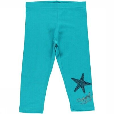 DESIGUAL Turquoise leggings with logo & sequinned star detail M 5/6-7/8 years