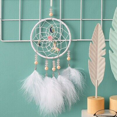 Handmade Unicorn Dream Catcher With Feathers Girl's Bedroom Hanging Gift Decor
