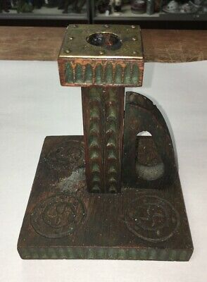 Antique Wood Arts and Crafts / Mission  Candlestick Candle Holder