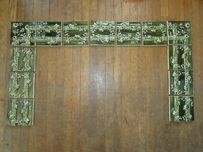 Antique Fireplace Hearth Tiles (set of 13) Green Victorian