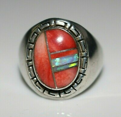 Beautiful Native American Indian Signed Spiny Oyster Opal Inlay Ring, Size 10