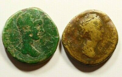 LOT OF 2 ANCIENT ROMAN BRONZE COINS - LARGE SIZE 25.48g / 27mm
