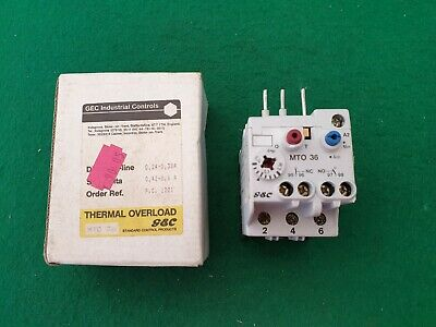 GEC General Electric MTO36  Overload Relay 0.24 - 0.38  Amp