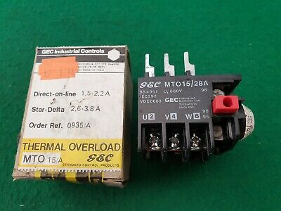 GEC General Electric MTO15/28A  Overload Relay 1.5 - 2.2 Amp