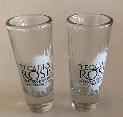 "Set Of 2 Tequila Rose Strawberry Cream 4"" Shot Glasses"