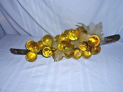 VTG Mid Century LUCITE GRAPE CLUSTER DRIFTWOOD  HUGE BUNCH YELLOW
