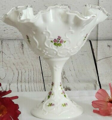 Fenton Milk Glass Handpainted Vase Silver Crest Rim Ruffled Signed Vtg Flower